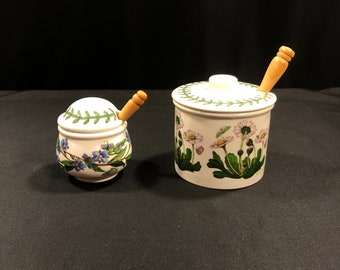 Portmeirion Botanic Garden Condiment And Jam or Jelly Jars With Lids And Spoons