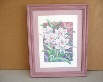 Vintage 1989 P. Brent Orchids Print in Wooden Frames Under the Glass.