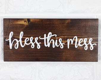 Bless This Mess | Wood Sign | Wall Decor | Wall Sign | Handlettered