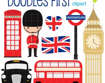 London Collection Digital Clip Art for Scrapbooking Card Making Cupcake Toppers Paper Crafts
