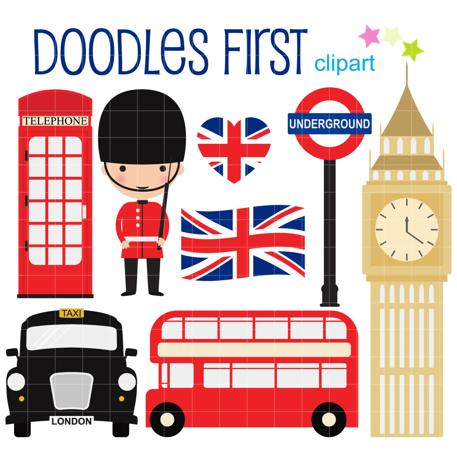 london collection digital clip art for scrapbooking card