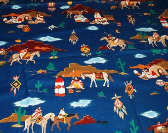 "Native American Navajo Fabric , A VIP Print  By Joan Messmore. Cranston Print Works Co.  58"" x 44""."