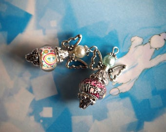 2 Angels 35x18mm, silver and colorful hand made lampwork glass and metal charm pendant