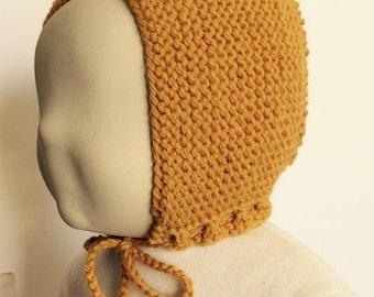 mustard color baby bonnet hat size 6 months