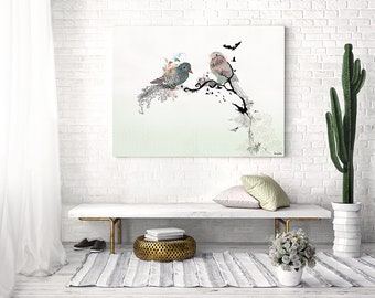Bird Painting, Print of Original Artwork, Wall Art Painting, Animal Art, Animal Painting, Large Wall Art, Couple Gifts, Birds Art