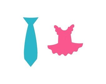 Tie or Tutu Die Cuts, Gender Reveal Party Favor, Tie or Tutu Cupcake Topper, Party Favor, Baby Scrapbook, Tie Die Cuts, Tutu Die Cuts