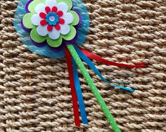 Fairy Princess Flower Wand - Flower Girl Wand - turquoise centre
