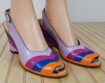 Vintage 1960's Jack Rogers Wedgelings Chevron CoLoR BLoCkeD Leather Platform Peep Toe Wedges Shoes Size 8 8.5 8 1/2