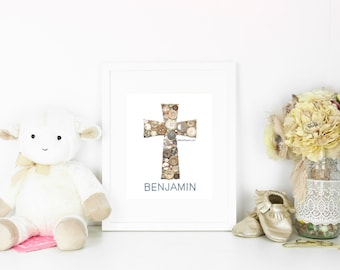 Baptism Gift | Personalized Christening Cross | Baby Shower Gift | Button Art | Nursery Art | Christening Gift | Babies Baptism Gift