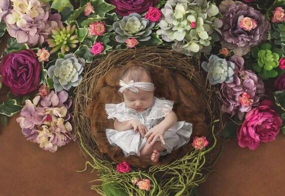 Crinkled Silk Organic Bow Tieback for girls, newborns, baby, bebe fotografia, Lil Miss Sweet Pea
