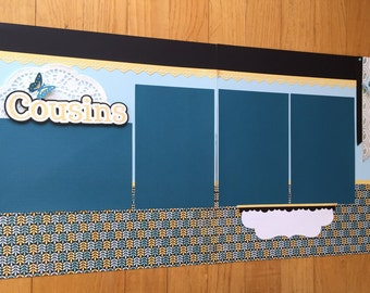 Premade Cousin Scrapbook Pages, Cousin Scrapbook Page, Family Scrapbook Pages, Cousins Scrapbook Pages, Family Scrapbook Album Pages