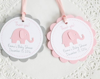 Pink Elephant Tags, Thank You Tags,Baby Shower Tags, Personalized Tags, Birthday Favors