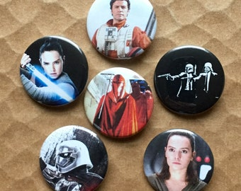 The Last Jedi Poe Rey Darth Vader Boba Fett Captain Phasma Pinback Buttons