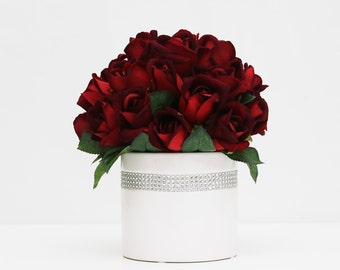 Dark red Velvet Rose wedding table centerpiece reception flowers home decor flower arrangement without vase
