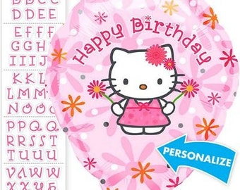 FAST SHIP Hello Kitty Birthday Personalized Balloons, Hello Kitty Party Balloons, Hello Kitty Mylar Balloons, Hello Kitty Party Supplies