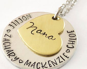 Hand stamped necklace - Mother's necklace - Grandmother necklace - Name Necklace - Custom gift - Hand stamped jewelry- Personalized necklace