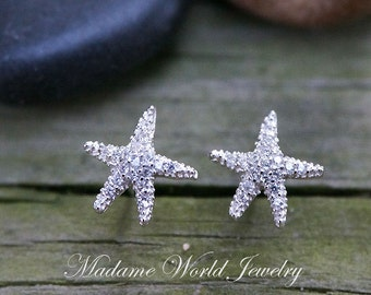 CZ Starfish Stud Earrings, Dainty Starfish Earrings, Summer Wedding Starfish Earrings