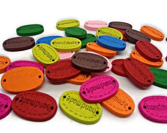 10 label buttons, labels with handmade, oval buttons, mixed colour buttons, oval tags, wooden tags, wooden connectors, handmade tags