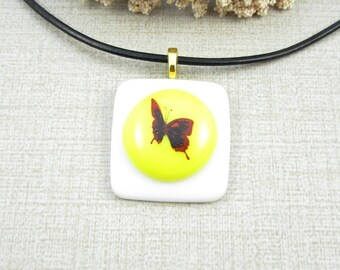 Yellow Glass Butterfly Pendant - Red Butterfly Necklace - Yellow and White Fused Glass Butterfly Pendant - Handmade Insect Jewelry