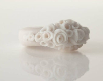Statement Rose Flower Ring Ivory Ecru White Ceramic Porcelain Cluster Cocktail Ring , Peony  Custom Size , Bridesmaid Unique Gift  Ring