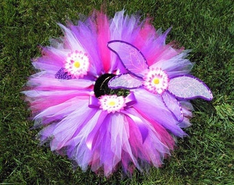 Fairy Tutu Set - 3 Piece Fairy Set - Design Your Own Garden Pixie Set - Custom sewn 11'' pixie tutu with fairy wings and a flower headband
