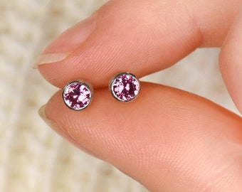 Pink Sapphire Ear Posts, Ethical 18k Gold, Sapphire Earrings, Sapphire Studs