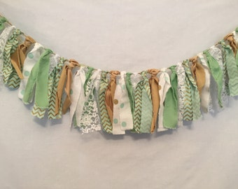 Mint and Gold Fabric Garland/Mint Fabric Banner/Mint Fabric Garland/Mint Fabric Bunting/Baby Sprinkle Shower/Mint Baby Shower/Fabric Garland