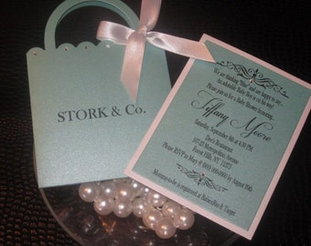 Purse Invitation, Handbag Invitation, Stork and Co. Invitation, Baby Shower, Sweet 16, Bat Mitzvah, Robin Egg Blue, Turquoise, Aquamarine