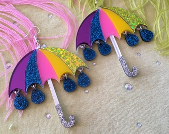 Rainbow Umbrella and Glitter Raindrop Earrings, Laser Cut Acrylic, Plastic Jewelry