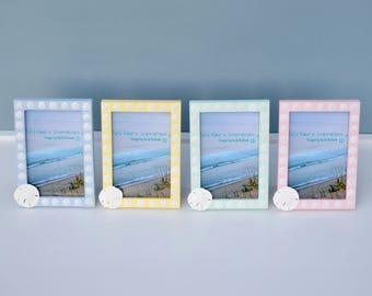 Coastal Decor, Beach Decor, Sand Dollar Frame, Beach Picture Frame, Seashell Frames, Nautical Picture Frame, Beach Wedding, Nautical Decor
