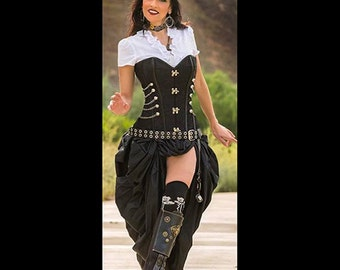 Ready to ship Steampunk Victorian Corset with Black Bustle Skirt, 2pc. Goth, Dress, Cosplay, Corset with metal clasps