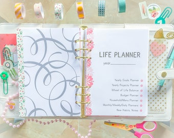 HALF SIZE Planner Pages, 5.5 X 8.5 LIFE Planner Half Page Planner Inserts Filofax Printable Half Letter Daily Weekly Instant Download 80