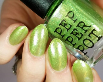 Green Yellow Flakie Nail Polish Private Idaho Bath Beauty Gift For Her Gift Under 10 Pepper Pot Polish