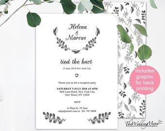 elopement announcement, botanical background, we eloped printable, elopement ideas, we got married, eloped, reception invitation, 006