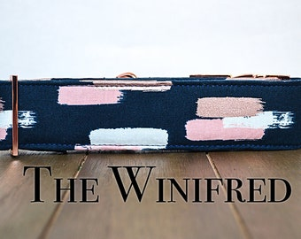 Navy Blue Dog Collar with rose gold brush strokes