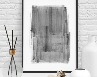 Abstract Monochrome Painting Art Print Black and White Poster Monochrome Painted Square Shapes in a Modern Contemporary Scandinavian Style