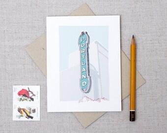 Illustrated Portland Sign Note Card / Portland Landmark / Portland, Oregon Any Occasion Note Card