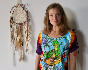 Alice In Wonderland Caterpillar Mad Hatter  Off The Shoulder Hippie Upcycled Tie Dye Psychedelic Tshirt/Tee/Top/Shirt Womens One Size