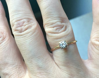 Diamond Solitaire Ring - 14k Gold - Engagement Ring - Vintage