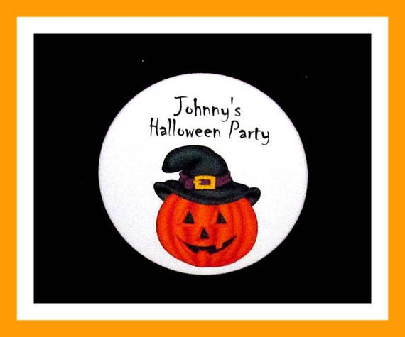 "Halloween Party favors,Pumpkin Favors,Kids Halloween Party,Adult Halloween Party Favor,Favor Tag,Personalized Button Pin - 2.25"" - Set of 10"