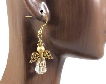 Gold Crystal Angel Earrings,  Christian Earrings, Christian Gift,   Guardian Angel Earrings, Quinceañera Gift, Christian Jewelry