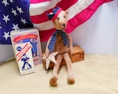 Primitive  Bear, Patriotic Americana Doll,Folk Art Bear With Crown, Red White Blue, Summer Decor,Veterans Day