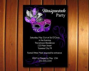 Masquerade Party Invitation, Mardi Gras Party Invitation, Sweet 16 Masquerade Invitations, Masquerade Ball Invites