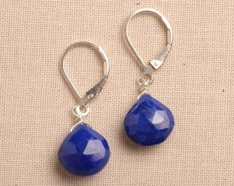Lapis Earrings, Blue Lapis Silver Earrings, Silver Leverback Earrings, December Birthstone, Healing Gemstone Jewelry, Gemstone Drop Earring