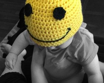 Handmade Baby Crochet Smiley Face Beanie, baby photo prop, baby shower gift, smiley face hat, baby boy hat, baby girl hat, Newborn-12 months