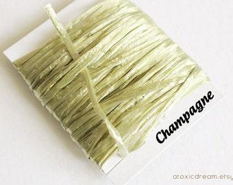 SALE Champagne Raffia Ribbon - 30/100 yards - 1/4 inch wide antique gold