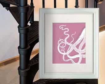 Octopus Tentacles White/Pink, Octopus print Nautical print beach house decor wall art wall hanging wall decor art print poster digital