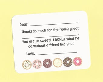 Donut Thank You Cards - Fill in the Blank Cards, Donut Cards, Donut Party, Donut Lovers, National Doughnut Day Cards, Coffee & Donuts Cards