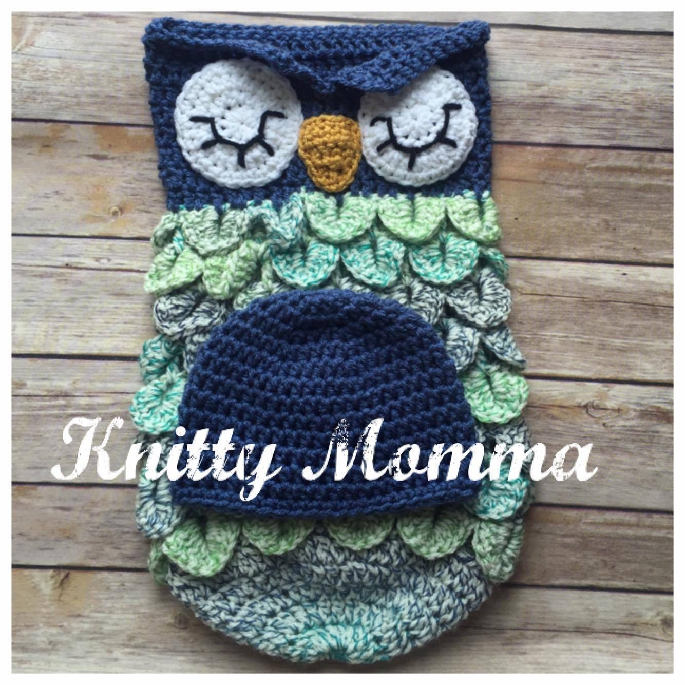 Owl Cocoon Pattern Owl and Hat Set Sleeping Sac Owl Photo Prop and ...