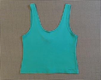 1990's, cropped, tank top, in teal, Women's size Large